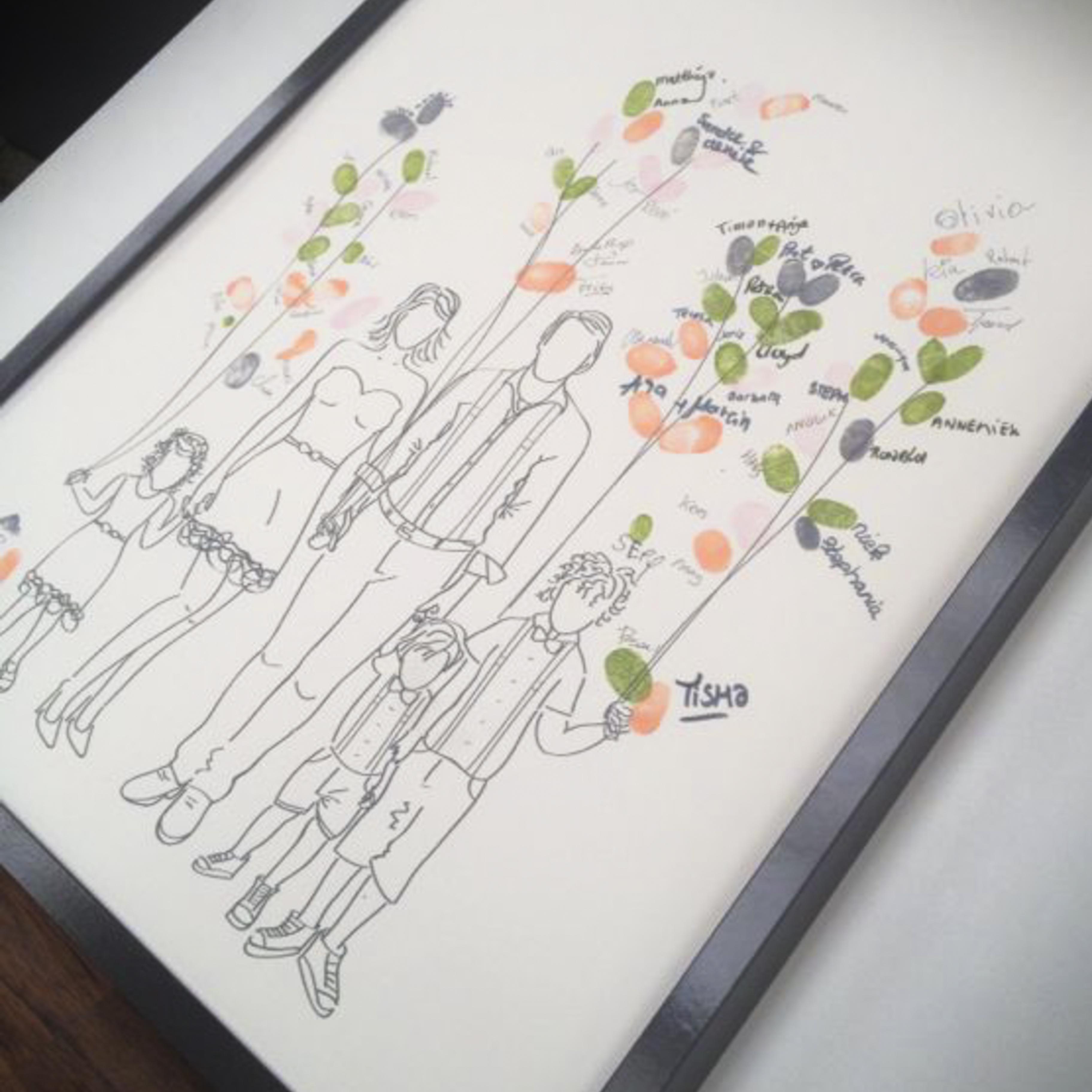 trouwkaart Amber Marijn persoonlijke illustraties