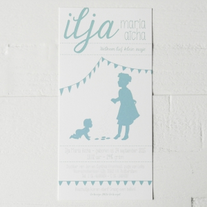 ilja geboortekaart illustratie silhouet