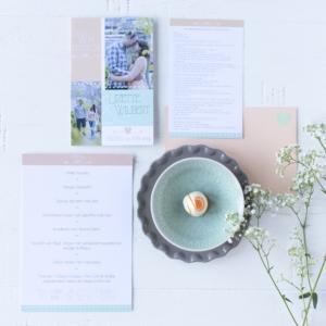 Trouwkaart mint peach menukaart