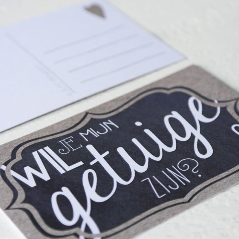 ansichtkaart 'wil je mijn getuige zijn?' bruiloft trouwen origineel trouwkaarten verloofd