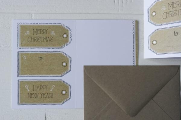 kraft label kerstkaart nieuwjaarskaart envelop