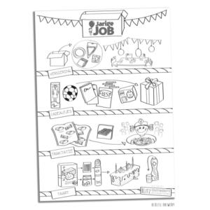stichting jarige job illustraties blitz ontwerpt rtvrijnmond kindertraktaties