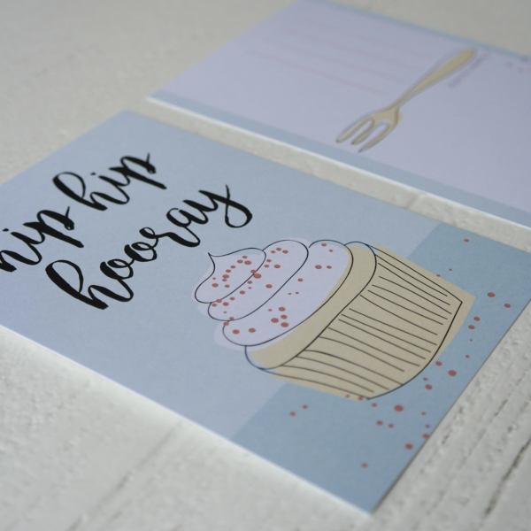Ansichtkaart illustratie Hip hip hooray_cupcake