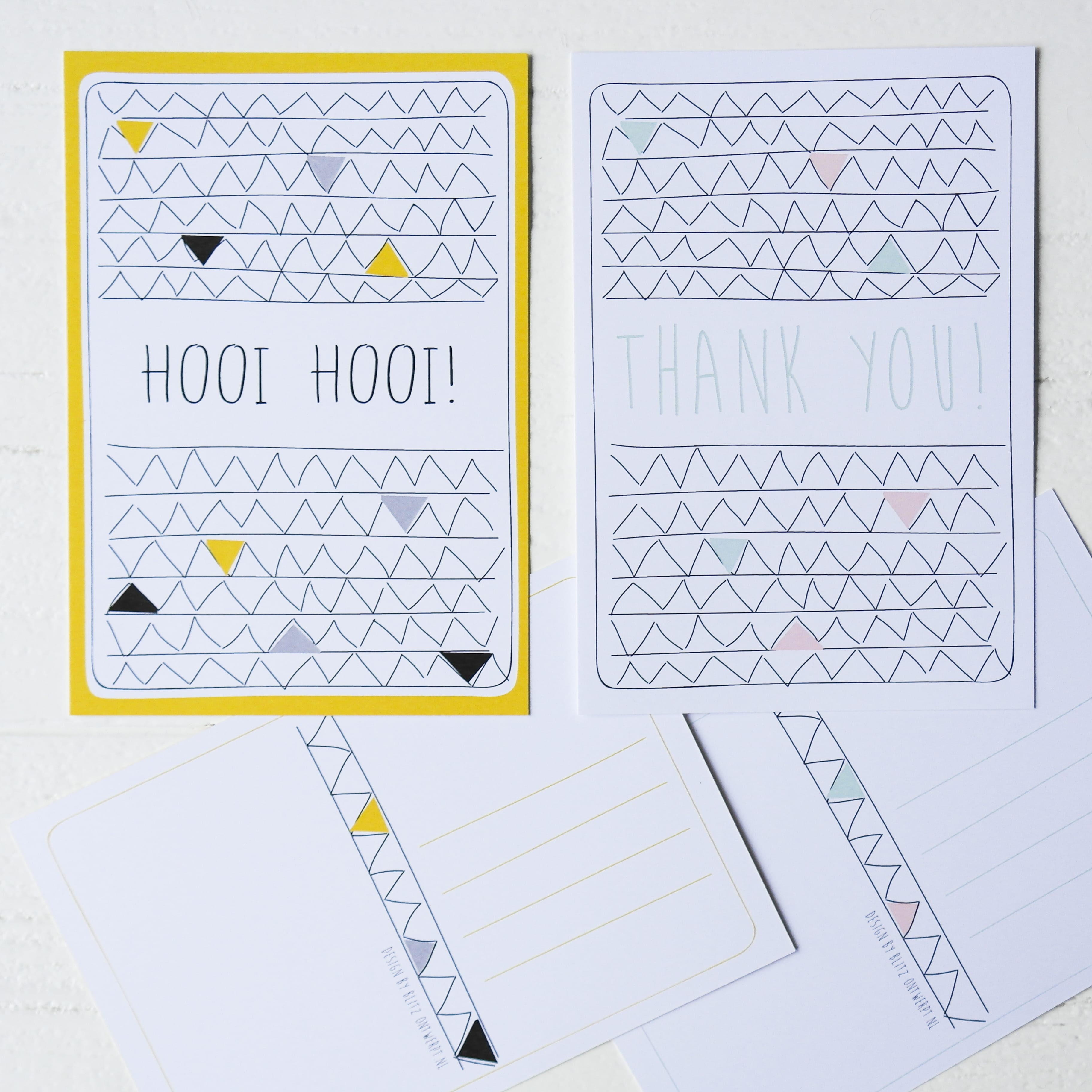 Ansichtkaart illustratie Hooi hooi_Thank you set