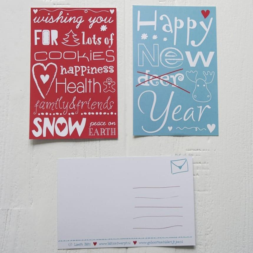 Kerst- en nieuwjaarskaarten letters illustraties