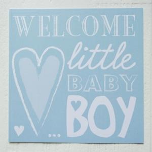 ansichtkaart boy jongen blauw letters