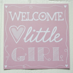 ansichtkaart gilt meisje roze letters