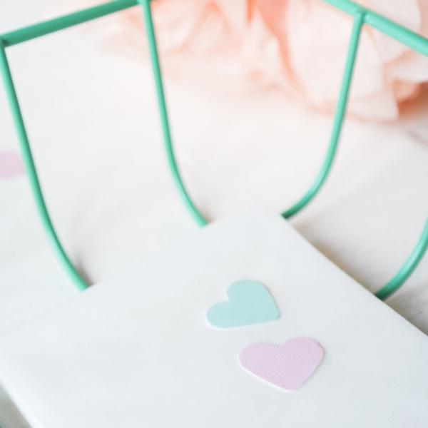 stickers hartje mint roze stationery
