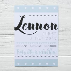 Blitz Ontwerpt geboortekaart Lennon illustraties