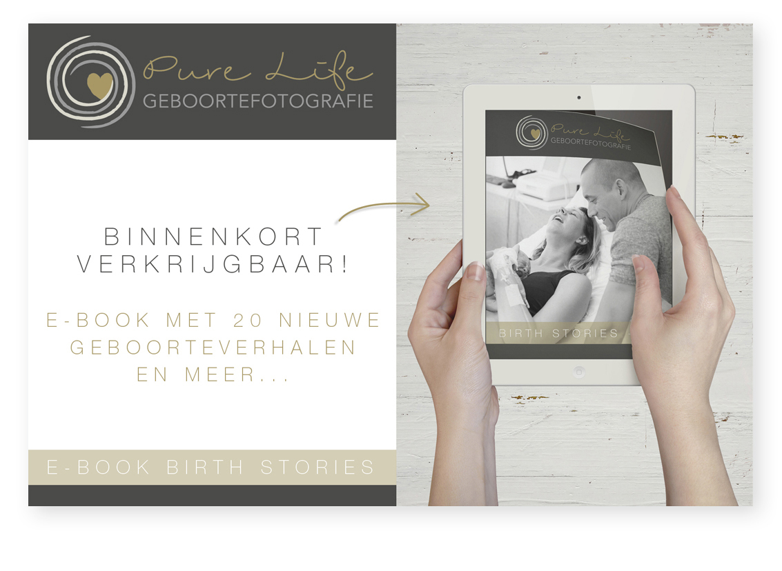 ebook mockup advertentie pure life geboortefotografie