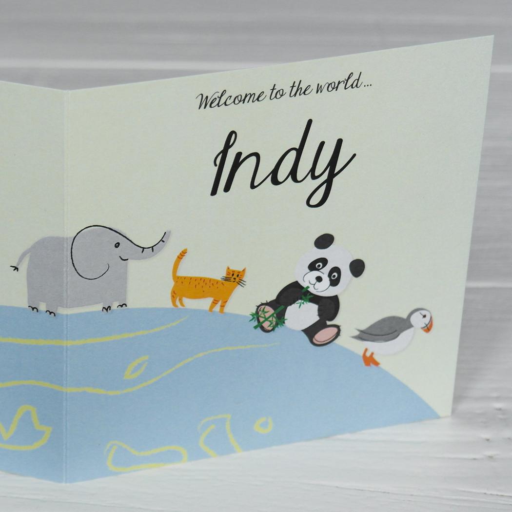 geboortekaart dieren illustraties origineel Indy