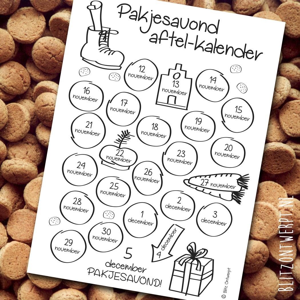 Free printable aftel-kalender Pakjesavond