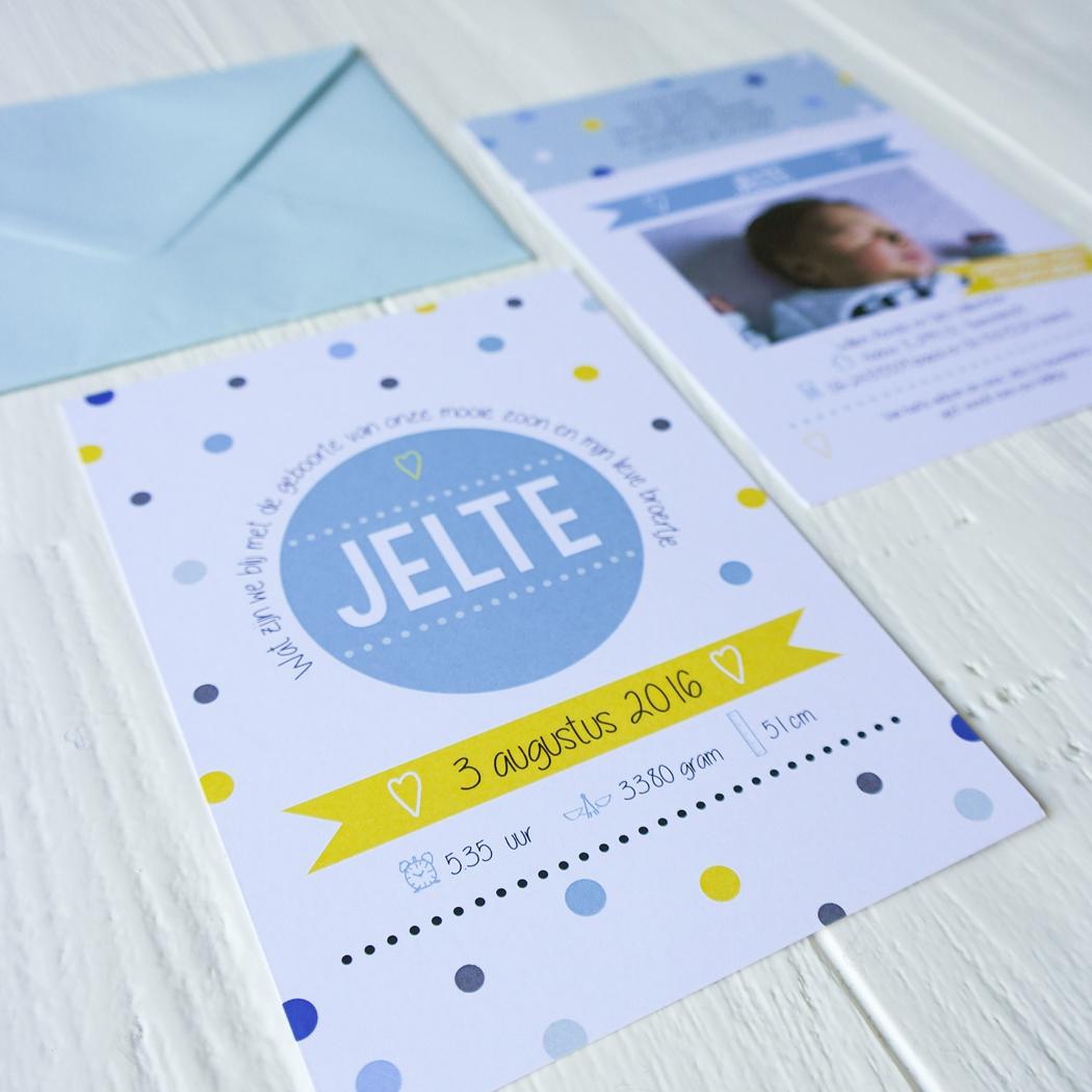 blitz ontwerpt geboortekaart foto stippen
