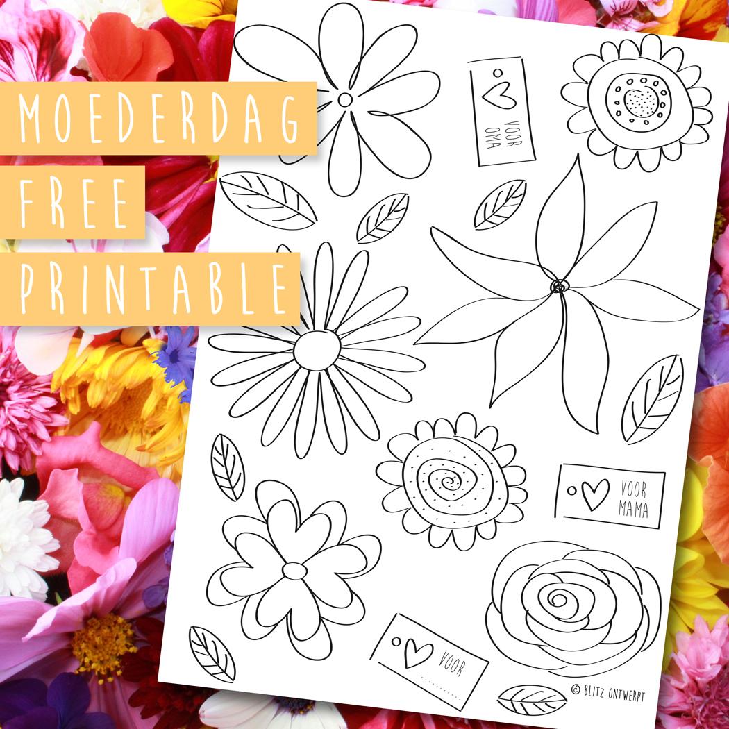 Moederdag FREE PRINTABLE  'bos bloemen'