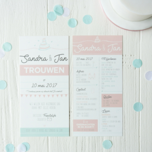 Trouwkaart SJ_origineel illustratie mint peach