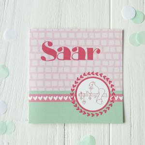 Geboortekaart Saar origineel mint roze