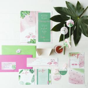 Trouwkaart flamingo urban jungle tropisch trouwen wedding