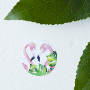 sticker rond flamingo urban jungle tropisch trouwen wedding