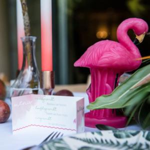 Blitz Ontwerpt trouwkaart flamingo tropisch