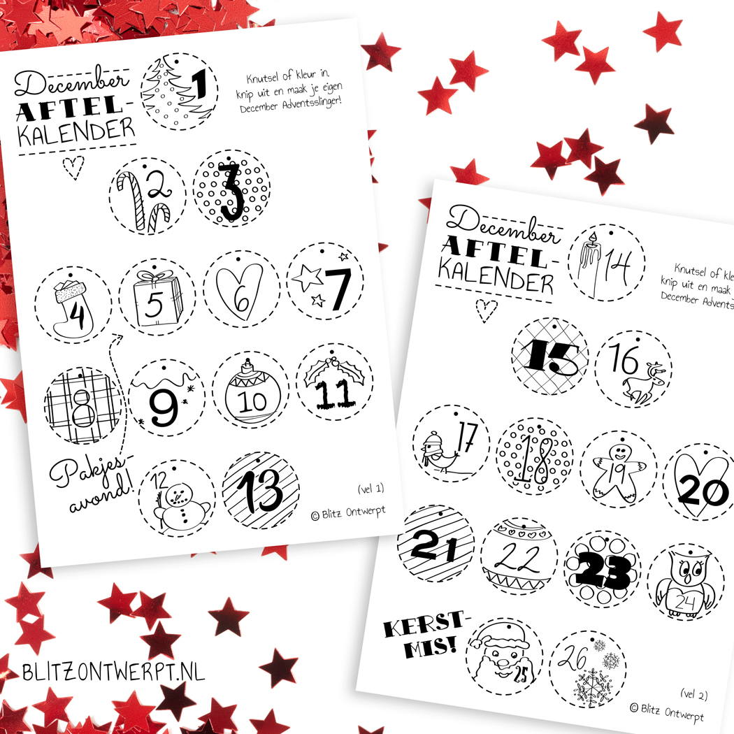 Kerstmis December aftelkalender free printable