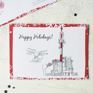 Zakelijke Kerstkaart Crane illustratie drone boorplatform