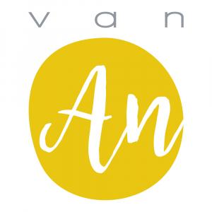 logo geel van an handlettering
