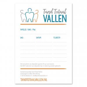 Logo huisstijl afsprakenkaart Tandarts praktijk Tand Totaal Vallen_ Blitz Ontwerpt