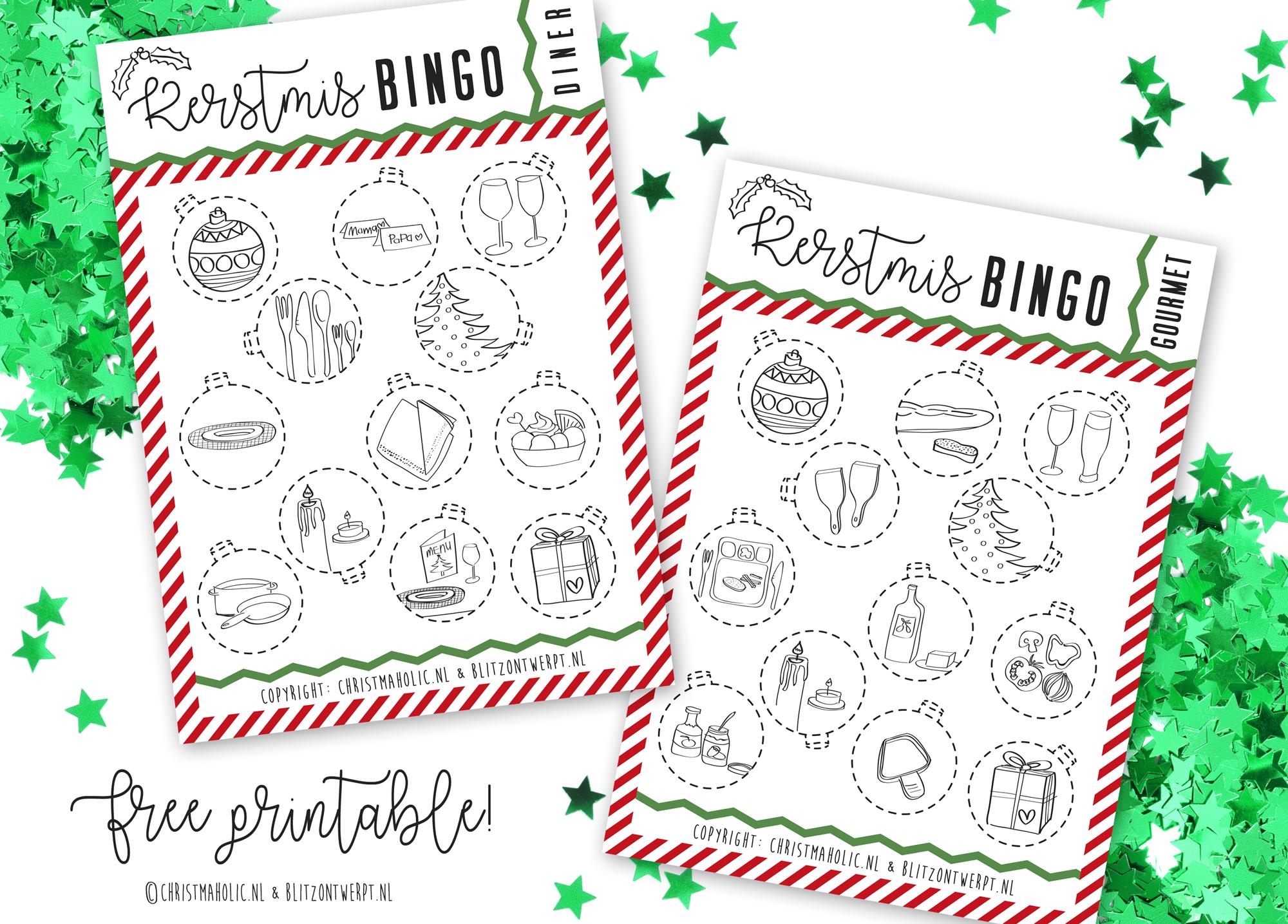 Kerst bingo voor tijdens Kerstdiner of gourmet
