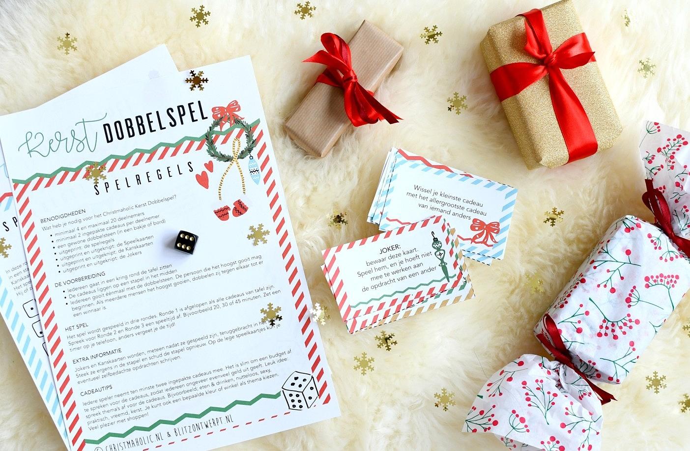 Kerst Dobbelspel printable