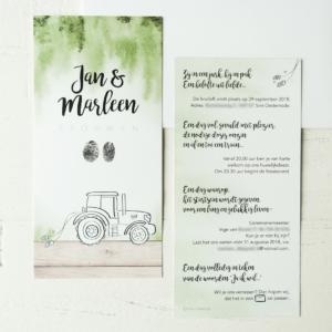 Trouwkaart tractor bruiloft boerderij