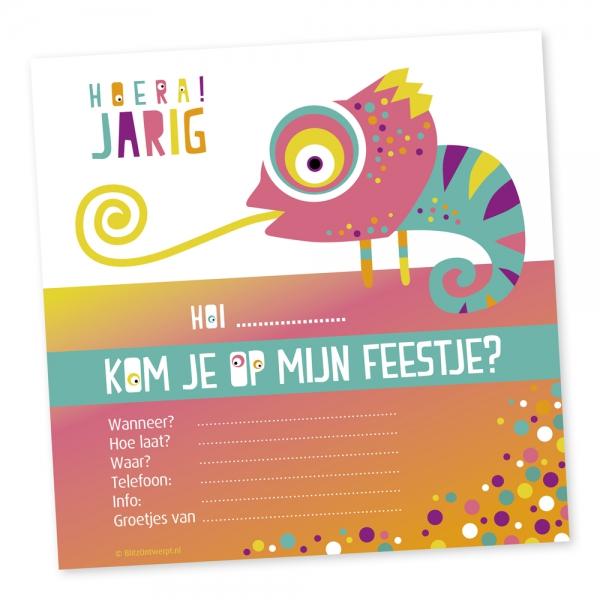Uitnodiging Kameleon roze kinderfeest_Blitz Ontwerpt