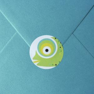 sticker Envelop kameleon blauw