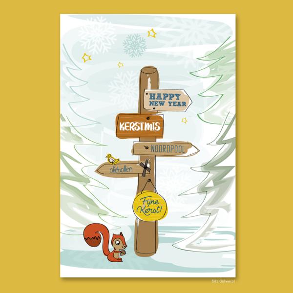 Kerstkaart illustratie Eekhoorn Blitz Ontwerpt