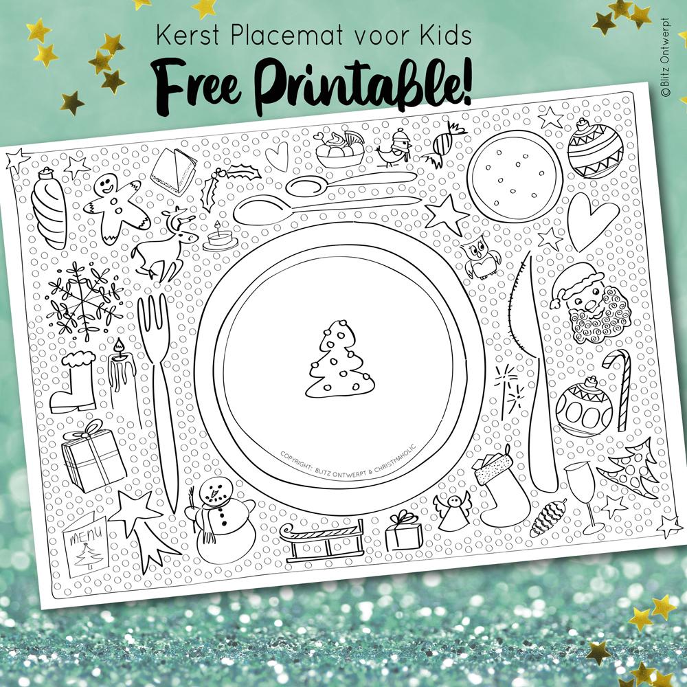 Kerst placemat voor kids – free printable