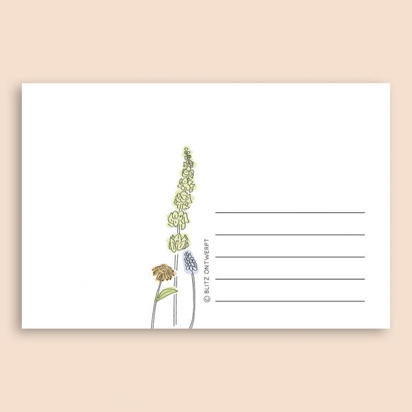 Liefs ansichtkaart bloemen Blitz Ontwerpt