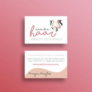 Logo visitekaart Meer dan Haar_haarstyling visagie_Blitz Ontwerpt