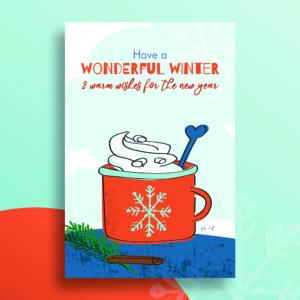 Kerstkaart winter Blitz Ontwerpt warme chocolademelk illustraties