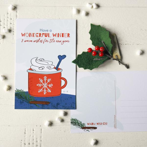 Kerstkaart winter Blitz Ontwerpt warme chocolademelk illustraties hulst