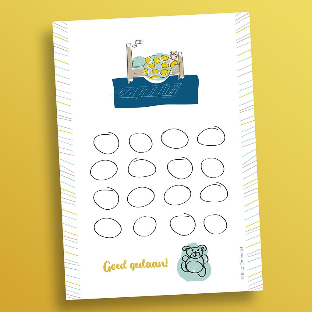 Afstreep-kaart 'Bed' free printable