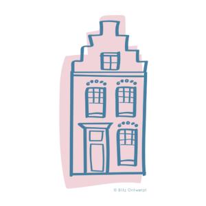 Blitz Ontwerpt illustratie Delfts blauw huisje